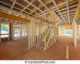 nuevo, residencial, construcción casera