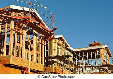 nuevo, residencial, hogares, bajo construcción