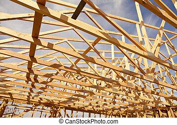 nuevo, resumen, construcción, encuadrado, hogar