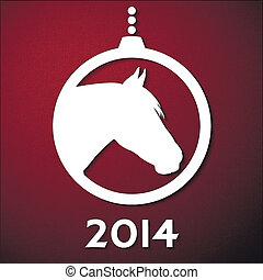 nuevo, símbolo, tarjeta, año