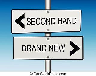 nuevo, segundo, marca, mano