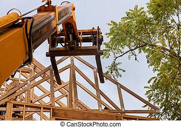 nuevo, ser, camión, hogar, auge, carretilla elevadora, techo, braguero, de madera, levantado