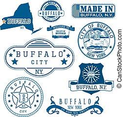 nuevo, signs., york., conjunto, sellos, búfalo