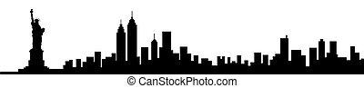 nuevo, silueta del horizonte, york, ciudad