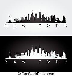 nuevo, silueta del horizonte, york