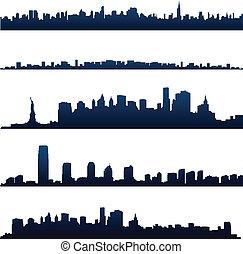 nuevo, siluetas, york, ciudad