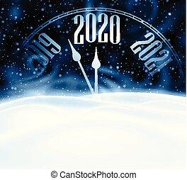 nuevo, tarjeta, snow., 2020, navidad, reloj, brillante, ...