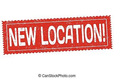 nuevo, ubicación, estampilla, grunge, caucho