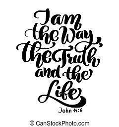 nuevo, verdad, bíblico, blanco, testament., verso, vector, aislado, juan, cristiano, plano de fondo, 6., ilustración, mano, letras, 14, fondo., manera, vida