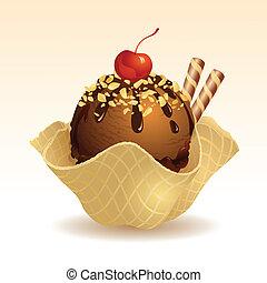 nuez, crema, hielo, chocolate
