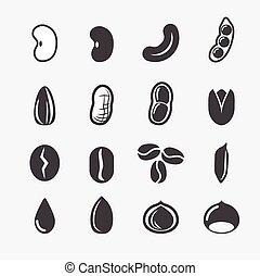 nuez, semilla, icono