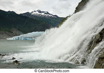 Nugget Falls with Mendenhall Glacier, Juneau, Alaska -...