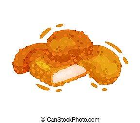 nuggets., illustration, arrière-plan., vecteur, poulet, blanc