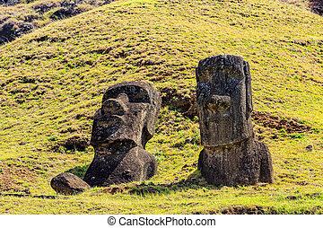 nui, estatuas, isla, rapa, rano raraku, nacional, moai,...