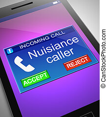 Nuisance caller concept. - Illustration depicting a phone...