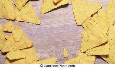 nuisible, nachos, copyspace, mexicain, encas, mouvement, gros plan, ton, chips, text., arrêt, calorique, fond, bois, nourriture