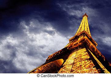 nuit, :, éclairé, 22, paris, -, repères, eiffel, ciel, une, ...