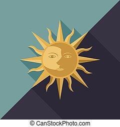 nuit, équinoxe, étoile, ou, soleil, conception, combinaison, lune, usage, plat, jour, icône, figure