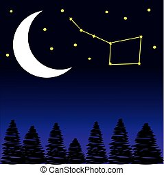 nuit, étoiles, arbres, lune