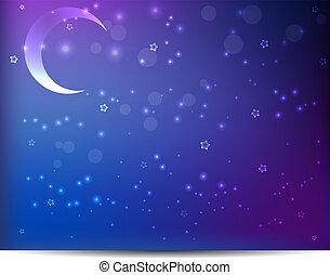 nuit, étoiles, fond, lune