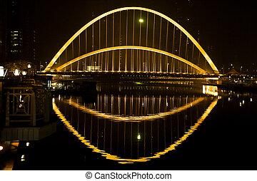 nuit, acier, pont