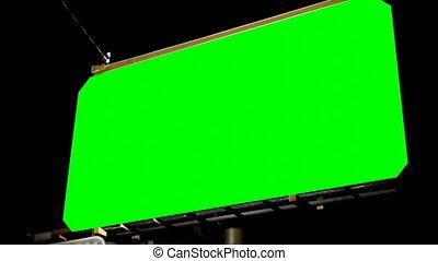 nuit, angle, vue, clã©, bas, écran, chroma, 4k, vide, vert, ...