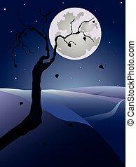 nuit, arbre, entiers, paysage, vecteur, moon.