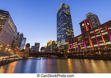 nuit, architecture, coloré, chicago