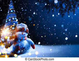 nuit, -, art, fond, neige, noël, bonhomme de neige