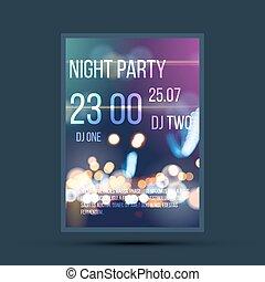 nuit, aviateur, gabarit, invitation