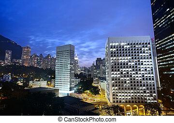 nuit, bâtiment, bureau, hong kong