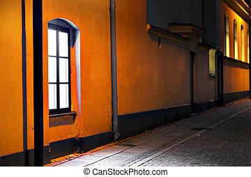 nuit, bâtiment, rue, lit, galet, mur, fenêtre, jaune, pierres