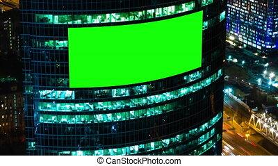 nuit, bâtiment, vide, panneau affichage, écran, -, voitures, trafic, timelapse, vert