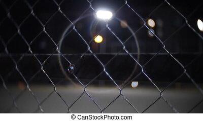 nuit, barrière, prison, fil