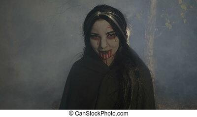 nuit, bois, sanglant, apprécier, vampire, femme, rire, ...