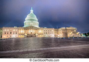 nuit, capitole américain, bâtiment