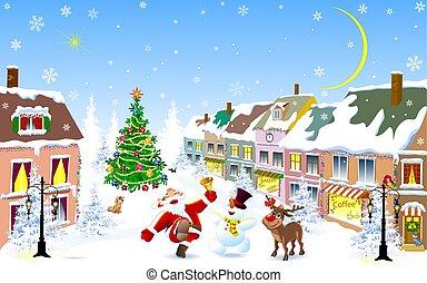 nuit, cerf, bonhomme de neige, noël, santa, ville