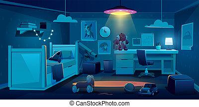 nuit, chambre à coucher, enfant, salle sombre, garçon, temps