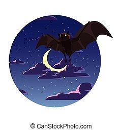nuit, chauve-souris, voler, ciel, lune