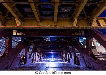 nuit, chicago, en ville, chemin fer, pont