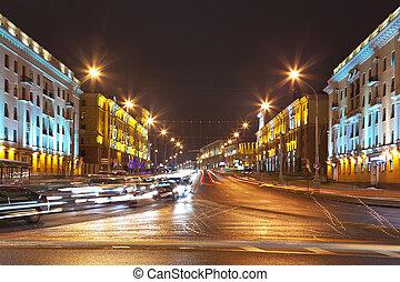 nuit, cityscape, de, minsk, belarus