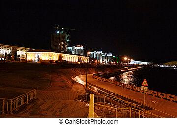nuit, cityscape, de, minsk.