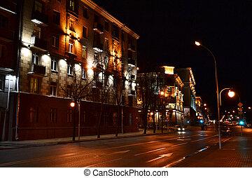nuit, cityscape, de, minsk
