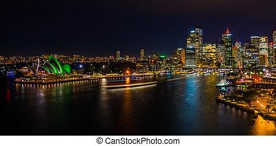 nuit, cityscape, de, port sydney
