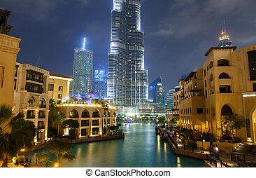 nuit, cityscape, dubai, en ville