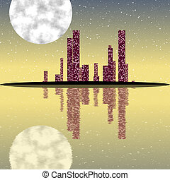 nuit, cityscape, engendré, texture