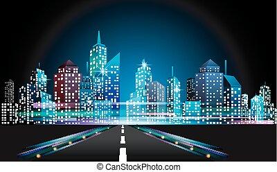 nuit, cityscape, horizon