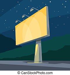 nuit, clair, jaune, panneau affichage