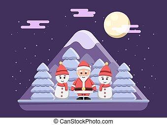 nuit, claus, neigeux, debout, santa, bonhomme de neige