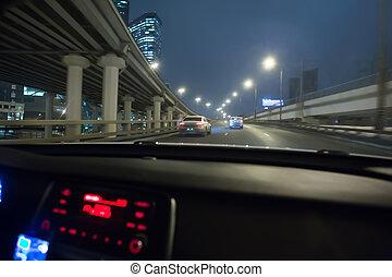 nuit, conduite, trafic, vue, voiture